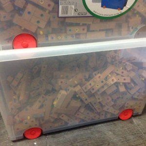 We had eight wheeled plastic containers to house the blocks. Having such a large amount available alloed for the ability to build a large structure.