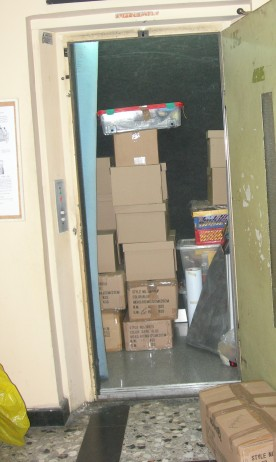moving boxes in elevator